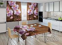 """Фото комплект для кухни """"Орхидеи и дерево"""" (шторы 1,5м*2,5м; скатерть 1,0м*1,2м)"""