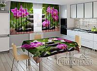 """Фото комплект для кухни """"Композиция из орхидей"""" (шторы 1,5м*2,0м; скатерть 0,8м*1,0м)"""