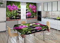 """Фото комплект для кухни """"Композиция из орхидей"""" (шторы 2,0м*2,9м; скатерть 1,45м*1,7м)"""