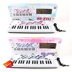 Синтезатор HS3711A-1-3790B-1 (24шт) 37клавиш,8ритм,запись,8тон,микроф,2цв,на бат,в кор,60-23,5-8,5с