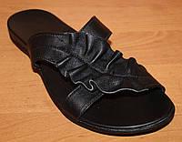 Шлепанцы женские кожаные черные, летние шлепанцы от производителя модель ВЛ62П