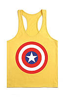 Мужская майка для бодибилдинга Капитан Америка, желтая
