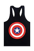 Мужская майка для бодибилдинга Капитан Америка, черная