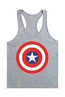 Мужская майка для бодибилдинга Капитан Америка, серая