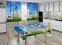 """Фото комплект для кухни """"Ромашки и бабочки"""" (шторы 1,5м*2,5м; скатерть 1,0м*1,2м)"""