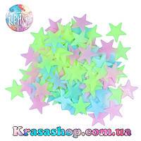 Светящиеся фосфорные звёзды на потолок 100 шт разноцветные