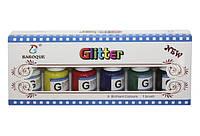 Краски из глитера для стекла, керамики, картона, 6 цветов по 25мл + нейлоновая кисточка,в кор.10*24*