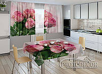"""Фото комплект для кухни """"Букет роз"""" (шторы 1,5м*2,5м; скатерть 1,0м*1,2м)"""