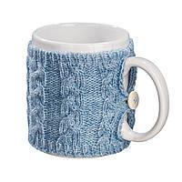 Вязаный чехол для чашки Ohaina цвет голубая пудра