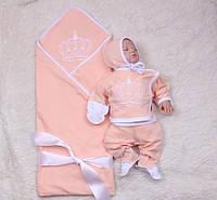 Набор на выписку для новорожденного Queen (персик)