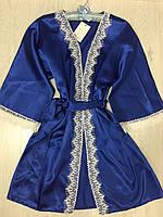 Атласный  халат  с  кружевом, синий