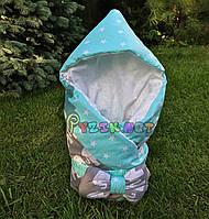 """Конверт-одеяло для новорожденных легкий на выписку и в коляску """"Слоник"""" бирюзовый"""