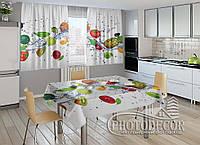 """Фото комплект для кухни """"Фруктовый микс"""" (шторы 2,0м*2,9м; скатерть 1,45м*1,7м)"""