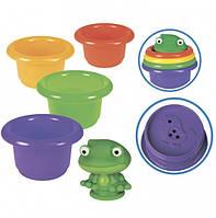 Пирамидка-стаканчики с брызгалкой для ванной  'Лягушонок'; 5 элементов; 6М+, в слюд.21смТМ BeBe lino
