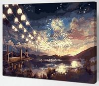 "Картина по номерам ""Фейерверк"", 40х50см (на разноцветном холсте)"