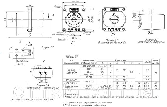 Габаритные, установочные, присоединительные размеры и масса трансформаторов тока ТПОЛ-10