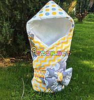 """Конверт-одеяло для новорожденных легкий на выписку и в коляску """"Слоник"""" оранжевый, фото 1"""