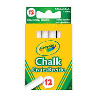 Мел белый, с пониженным выд. пыли, для рисов. на доске и асфальте,в кор.10*6см (12шт) 3+, ТМ Crayola