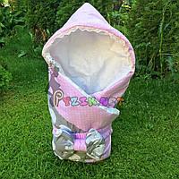 """Конверт-одеяло для новорожденных легкий на выписку и в коляску """"Слоник"""" розовый, фото 1"""