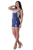 Джинсовый женский сарафан с короткой юбкой