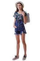 Летний джинсовый женский комбинезон с шортами