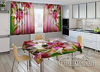 """Фото комплект для кухни """"Пестрые орхидеи"""" (шторы 1,5м*2,5м; скатерть 1,0м*1,2м)"""