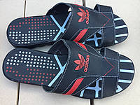 Мужские кожаные шлепанцы adidas № 24 чёрно-красные с 41 размер