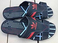 Мужские кожаные шлепанцы adidas № 24 чёрно-красные с 40  размер