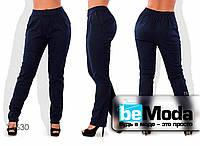 Оригинальные женские льняные брюки облагающего кроя на резинке черные