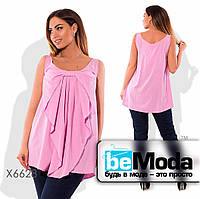 Необычная женская блуза свободного кроя с бантом впереди розовая