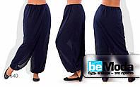 Роскошные женский брюки больших размеров из шифона с оригинальным запахом синие