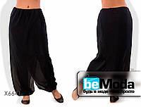 Роскошные женский брюки больших размеров из шифона с оригинальным запахом черные
