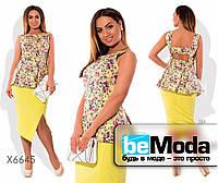 Элегантный женский костюм из туники с цветочным принтом и однотонной юбки желтый