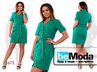 Модное женское платье в рубашечном стиле с поясом в комплекте зеленое