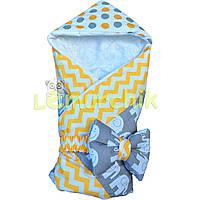 """Конверт-одеяло для новорожденных легкий на выписку и в коляску """"Слоник"""" оранжевый"""