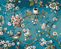 Картина по номерам Mariposa Синички на яблоне Q-1083