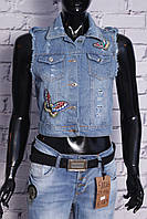 Стильный жилет женский джинсовый с вышивкой (код 05)