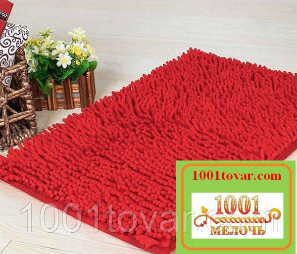 """Коврик из микрофибры """"Макароны или дреды"""" для широкого применения, 80х50 см., красный"""