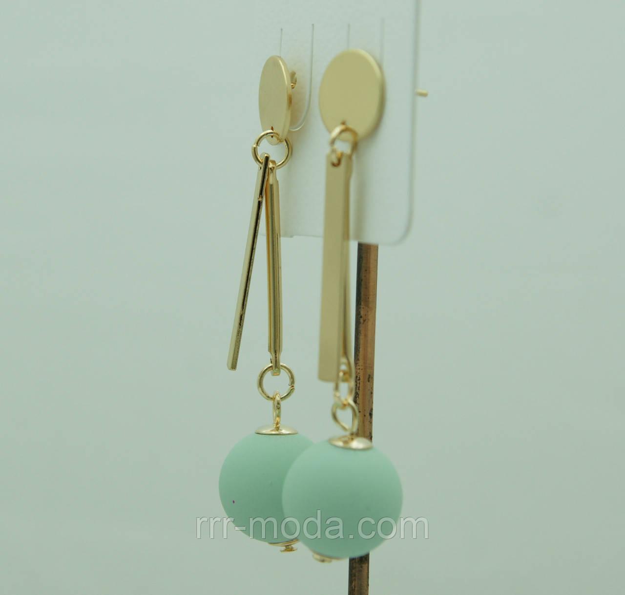 Необычные матовые серёжки шарики Korea, бирюзовые сережки-гвоздики 3083