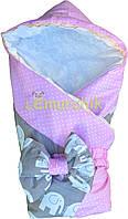 """Конверт-одеяло для новорожденных легкий на выписку и в коляску """"Слоник"""" розовый"""