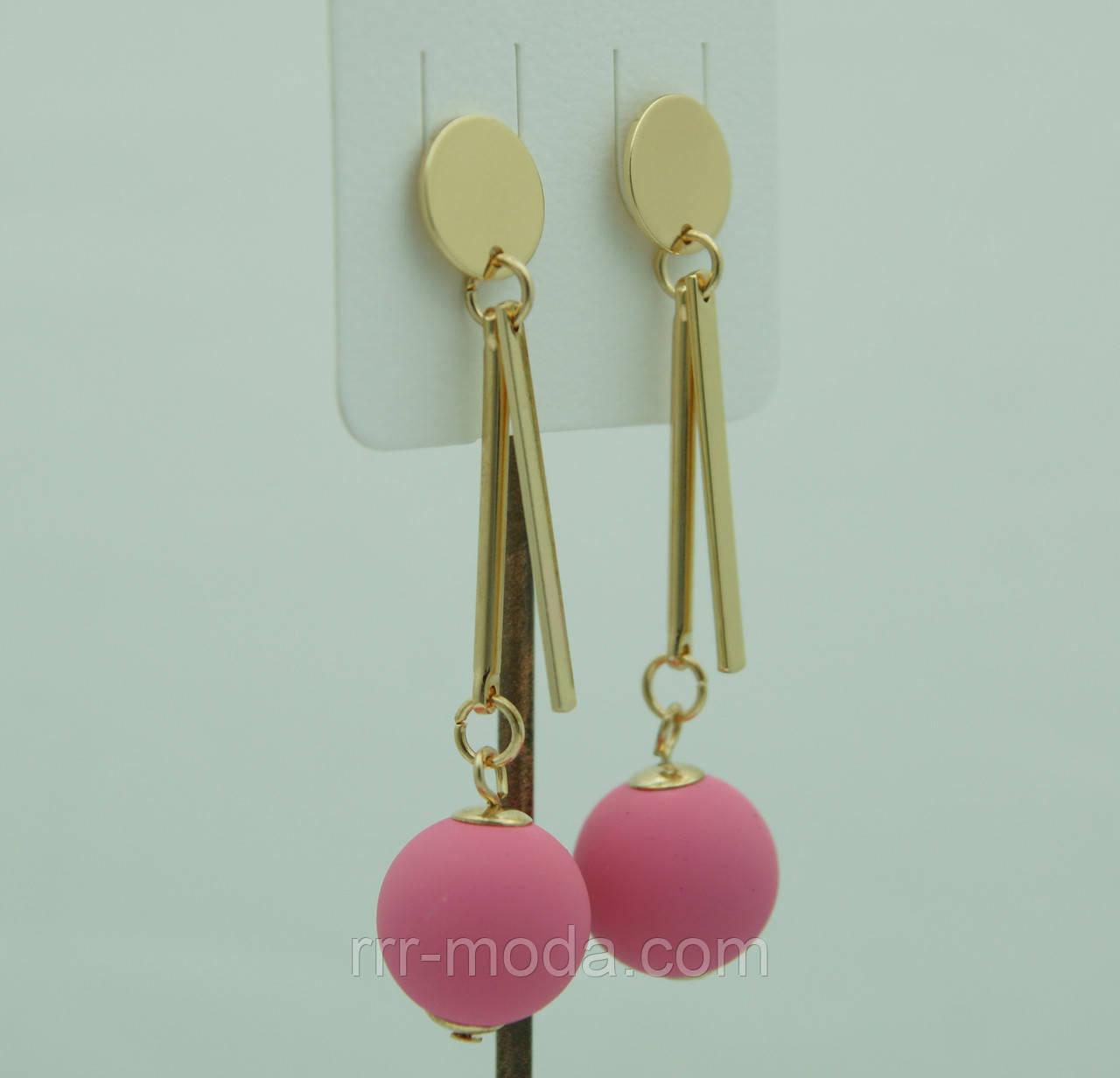 Нежные матовые серёжки шарики Korea, розовые сережки-гвоздики 3084