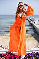 Эффектная пляжная женская накидка в пол приталенного фасона с длинным рукавом шифон Турция