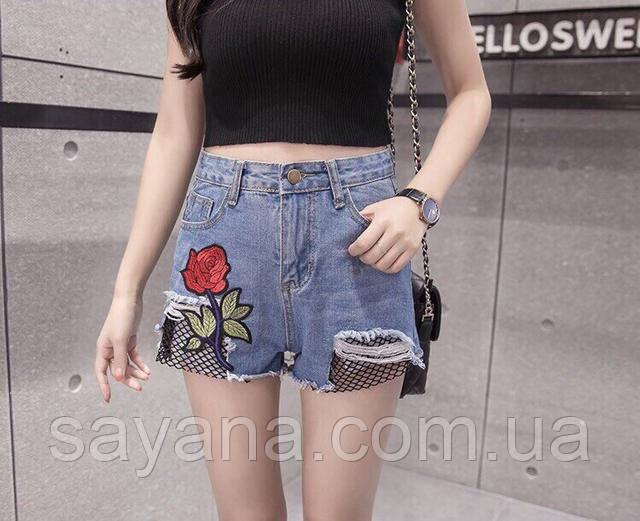 джинсовые шорты с нашивкой