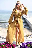 Изящная пляжная женская накидка в пол приталенного фасона с длинным рукавом шифон Турция