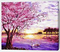 "Картина по номерам ""Розовое дерево у озера"", 40х50см (на разноцветном холсте)"