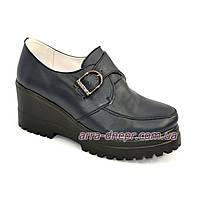 Кожаные женские закрытые туфли на платформе, синий цвет