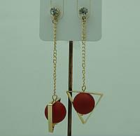 Бижутерия из Кореи, серьги цепочки с матовыми шариками. Korea сережки-гвоздики 3098