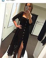 Платье миди из красивого гипюра на пуговицах
