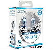 Комплект ламп PHILIPS H4 WhiteVision +60% 12V 60W 12342WHVSM