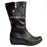 Женские ботинки на невысокой платформе, натуральная кожа флотар.Широкая голень!